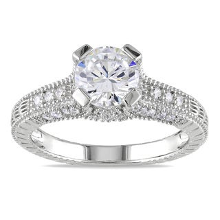 M by Miadora Sterling Silver White Pave-set Cubic Zirconia Engagement Ring