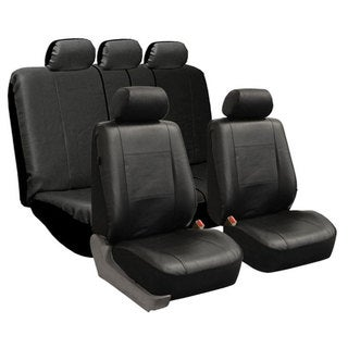 FH Group Black PU Leather Airbag Compatible Car Seat Covers Full Set