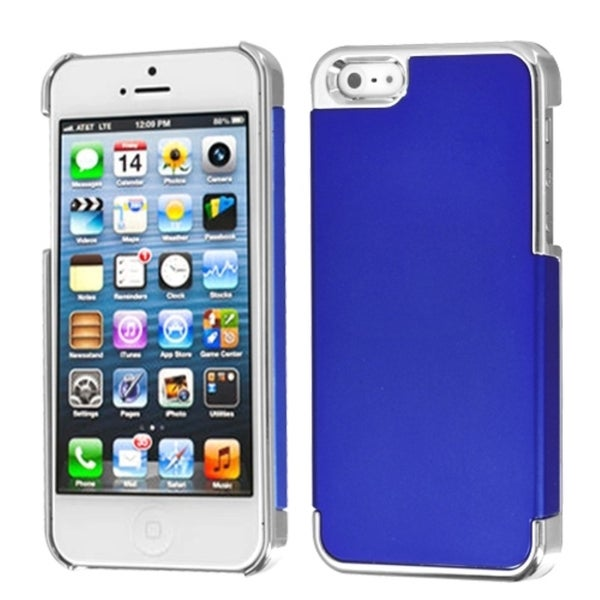 INSTEN Dark Blue/ Silver MyDual Back Phone Case Cover for Apple iPhone 5