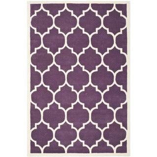 "Safavieh Contemporary Handmade Moroccan Purple Wool Rug (8'9"" x 12')"