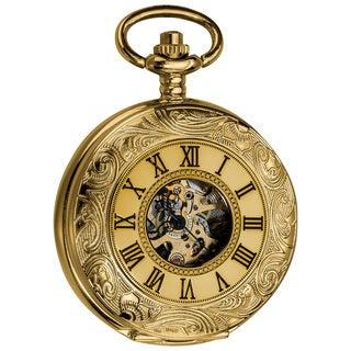 Akribos XXIV Men's Antique Mechanical Skeleton Chain Pocket Watch
