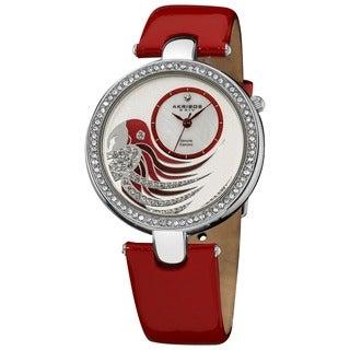 Akribos XXIV Women's Water-resistant Parrot Dial Genuine Leather Strap Watch