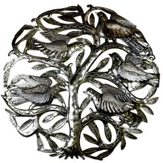 Handcrafted Tree of Life 3-D Birds 24-inch Metal Wall Art (Haiti)