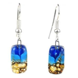 Handmade Blue Sky Mosaic Fused Glass Earrings (Chile)