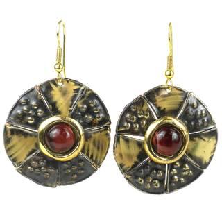 Handmade Roulette Red Tiger Eye Brass Earrings
