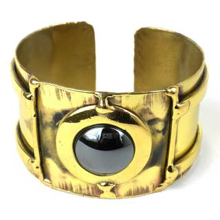 Handcrafted Between the Lines Hematite Brass Cuff (South Africa)