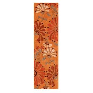 Alliyah Handmade Rust New Zealand Blend Wool Rug (2x8)
