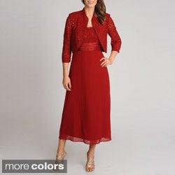 R & M Richards Women's 2-piece Lace Sequin Bodice Jacket Dress