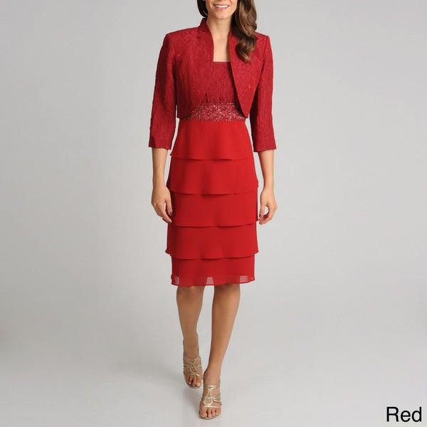 R&M Richards Women's 2-piece Textured Bodice Jacket Dress