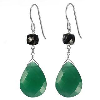 Ashanti Silver Emerald Green Chalcedony Briolette/ Black Spinel Earrings (Sri Lanka)