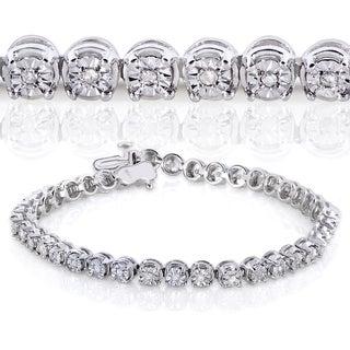Annello Sterling Silver 1/2ct TDW Round Diamond Bracelet (H-I, I2-I3)