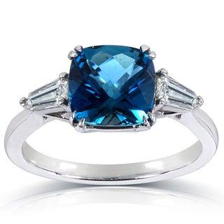 Annello 14k Gold London Blue Topaz and 2/5ct TDW Diamond Ring (G-H, VS1-VS2)
