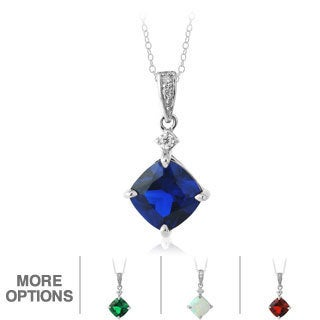 Glitzy Rocks Sterling Silver Gemstone and CZ Solitaire Necklace