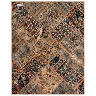 Pak Persian Hand-knotted Patchwork Multi-colored Wool Rug (4'10 x 6'1)