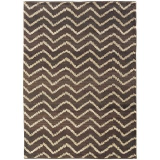 Old World Tribal Brown/ Ivory Area Rug (6'7 x 9'1)