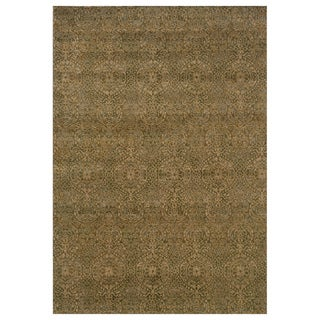 Neutral Panel Beige/ Blue Rug (6'7 x 9'6)
