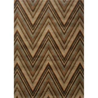 Chevron Brown/ Blue Rug (6'7 x 9'6)