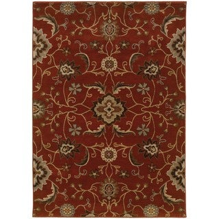 Floral Red/ Multi Traditional Rug (6'7 x 9'6)