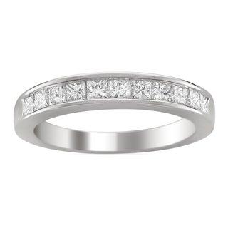 14k White Gold 1ct TDW Princess-cut Diamond Wedding Band (G-H, VS1-VS2)