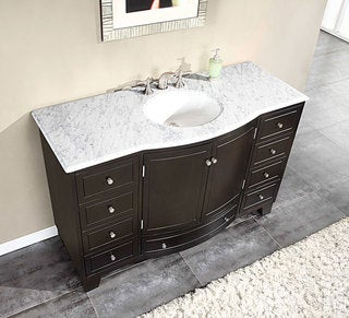 Silkroad Exclusive 55-inch Carrara White Marble Stone Top Bathroom Single Sink Cabinet Vanity