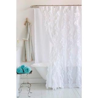 Tuxedo White Ruffled Cotton Shower Curtain