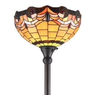 Amora Lighting Tiffany Style Torchiere Lamp