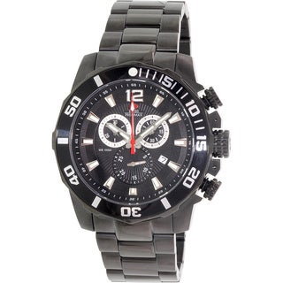 Swiss Precimax Men's Crew Pro Black Stainless-Steel Band Swiss Chronograph Watch