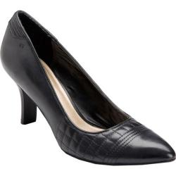 Women's Rockport Lianna Quilted Pump Black Full Grain Leather