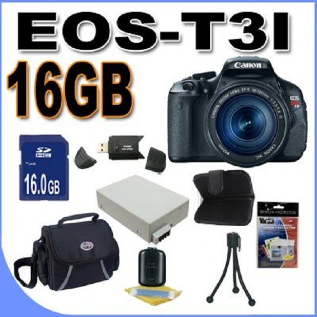 Canon EOS T3i 18MP Digital SLR Camera with 18-135mm Lens/ 16GB Bundle