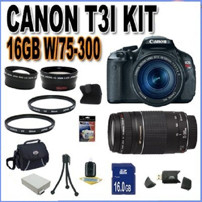 Canon EOS Rebel T3i 18MP Black Digital SLR Camera with 18-55MM &amp; 75-300 Lens Kit