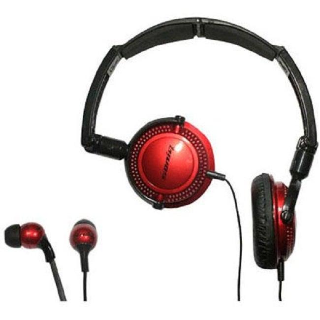 Soniq KABOOM! Headphone/Earphone Red Combo Pack