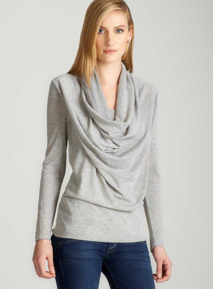 Annalee + Hope Cowl neck sweater in grey B