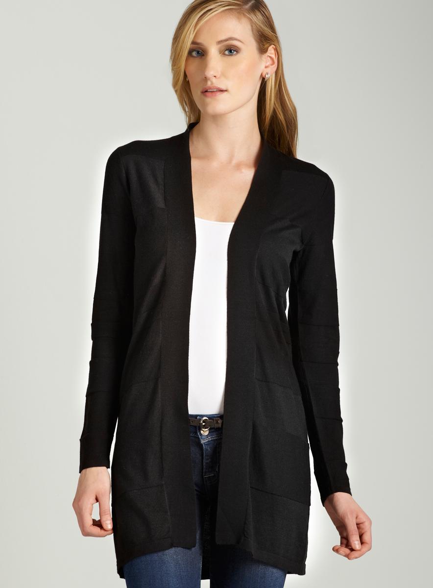 August Silk Shawl collar cardigan in black