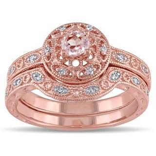 Miadora Rose-plated Silver Morganite and 1/10ct TDW Diamond Bridal Ring Set (H-I, I2-I3)