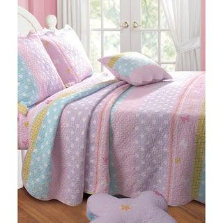 Polka Dot Stripe Bonus 5-piece Quilt Set