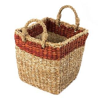 Handmade Hogla Leaf Carry-All Basket (Bangladesh)