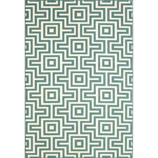 Indoor/ Outdoor Blue Retro Polypropylene Rug (8'6 x 13')