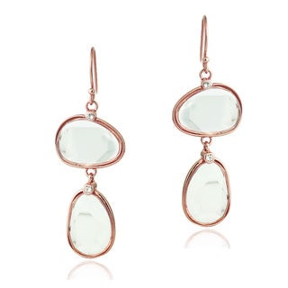 Glitzy Rocks Rose Gold over Silver Clear Quartz and Topaz Earrings