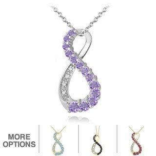 Glitzy Rocks Gemstone And Diamond Accent Infinity Necklace