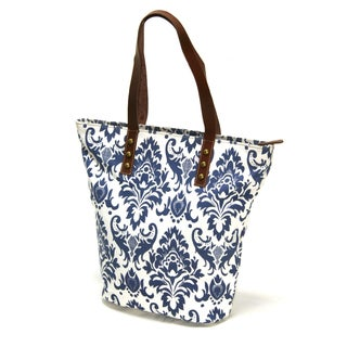 White Canvas and Leather Screen Printed Shopper Tote Bag (India)