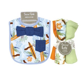 Trend Lab Surf's Up Bowtie Dress Up Bib and 4-piece Burp Cloth Set