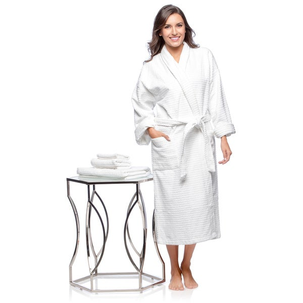 Luxurious Full Length Combed Cotton Bath Robe with Bonus Matching 3-piece Towel Set