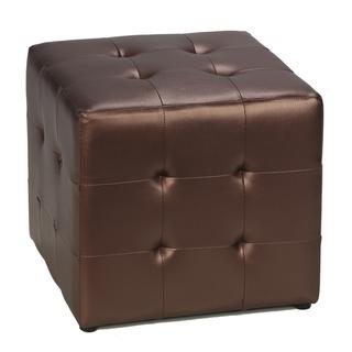 Cortesi Home Dark Copper Metalic Cube Ottoman