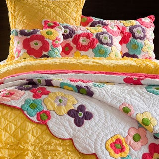Kamila Girl Flower Quilt and Sham Separates