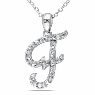M by Miadora Sterling Silver 1/6ct TDW Diamond 'F' Necklace (G-H, I1-I2)