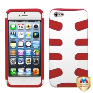 INSTEN Ivory White/ Red Fishbone Phone Case Cover for Apple iPhone 5