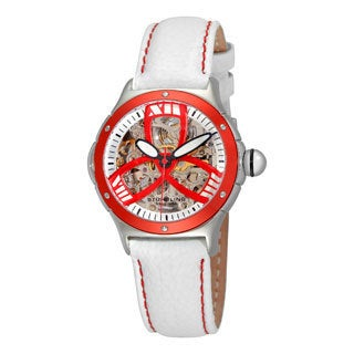 Stuhrling Original Women's Classic Alpine Girl Automatic Skeleton White Leather Strap Watch