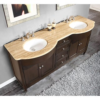 Silkroad exclusive granite top 55 inch double sink vanity cabinet - Silkroad Exclusive Bath Vanities Overstock Shopping
