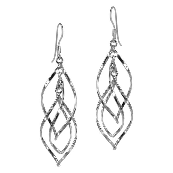 Steling Silver Gracious Swirling Infinity Earrings (Thailand)