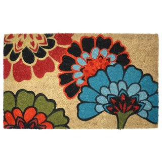 Yaki Floral 18 x 30-inch Coir Doormat